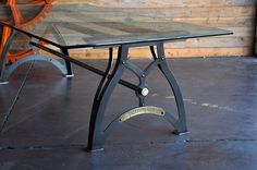 IndustriaLux Table with Glass Top by Vintage Industrial Furniture in Phoenix, AZ
