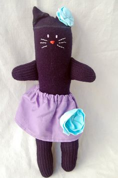 hand sewn sock kitty by maker mama on etsy $25