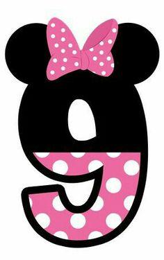 Numero 9 cumpleaños  Fiesta, party, decoración  Minnie mouse moño  Rosita, blanco y negro