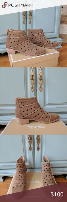 """New Michael Kors Uma Flat Bootie Brand new in box, unworn suede bootie by Michael Kors. Taupe with diamond cutouts and gold zippers. 1.5"""" stacked block heel. Sold out! MICHAEL Michael Kors Shoes Ankle Boots & Booties"""