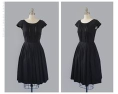 1950's vintage black dress found I on Etsy (StickyLipGloss).  The vertical pintucks on the bodice are so pretty!