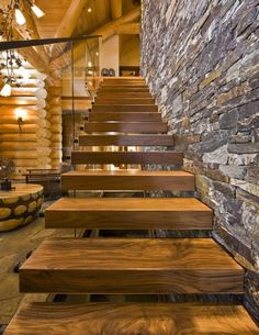 Contemporary Luxury Log Home Plans as Exterior Veneer for Suburbs House: Epic Rustic Staircase Design In Luxury Log Home Plans Used Wooden M.
