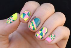Nailed It blog featured an awesome geometric pattern with @ColorClubPolish Wild Cactus and Flamingo! #nails #nailart