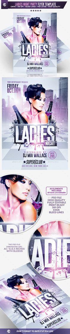 Ladies Night Flyer Template PSD #design Download: http://graphicriver.net/item/ladies-night-flyer-psd-template/13176758?ref=ksioks