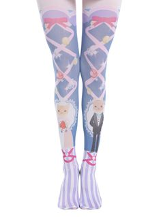 "<div>Purple and white stripes, pink lace-up corset print, bubbles and jewels, and of course, cats getting married. What <i>isn't</i> kawaii about these tights from Blackheart?</div><div><ul><li style=""LIST-STYLE-POSITION: outside !important; LIST-STYLE-TYPE: disc !important"">100% nylon</li><li style=""LIST-STYLE-POSITION: outside !important; LIST-STYLE-TYPE: disc !important"">Hand wash cold; dry flat</li><li style=""LIST-STYLE-POSITION: outside !important; LIST-STYLE-TYPE: disc…"