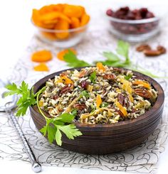 Wild Rice Salad with Cranberries. The perfect side dish for Thanksgiving Christmas or New Year's Eve: Wild Rice Salad with Cranberries Apricots and Pecans. Holiday Side Dishes, Thanksgiving Side Dishes, Thanksgiving Recipes, Holiday Recipes, Gluten Free Recipes Side Dishes, Salad Recipes, Healthy Recipes, Healthy Salads, Delicious Recipes