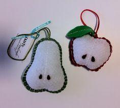 mela e pera, decorazioni in feltro, felt ornament