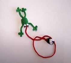 Frog Bookmark Crocheted with fly by friendlyhands on Etsy, $6.00