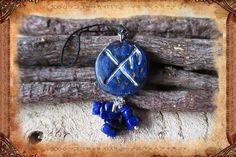 """Porte-clé runique porte-bonheur """"Gibu Auja"""", de couleurs bleu et argenté : Porte clés par freyja-s-faeries"""