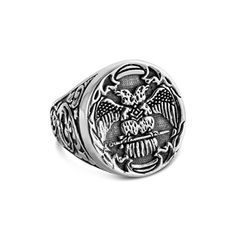 Azaggi 925 Sterling Silver Freemason Double Eagle Compass and Square Ring Freemason Ring, Secret Handshake, Double Headed Eagle, Square Rings, Compass, Jewelry Rings, Rings For Men, Silver Rings, Symbols