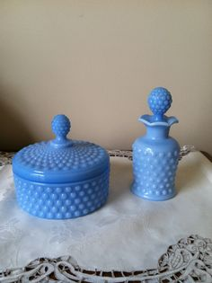 Blue Milk Glass Hobnail Dresser Set Powder Jar and Perfume Bottle by Imperial Glass