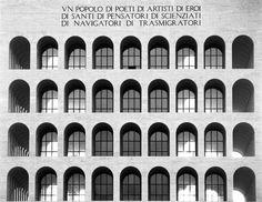 The Palazzo della Civitta del Lavoro (Palace of Labour) by the Italian architect Marcello Piacentini. I very much like its stark, unadorned classicist/rationalist facade.