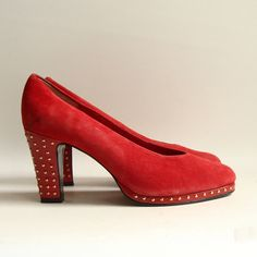 shoes 7.5 / red suede heels / studded 90s heels / gold stud pumps / shoes size 7.5 / vintage shoes. $33.00, via Etsy.