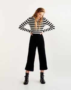 Pull&Bear - dames - kleding - broeken - geribde culotte-broek - zwart - 05681304-I2017