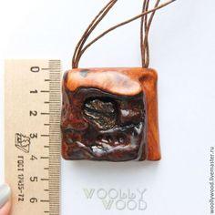 Купить Кулон из красного дерева с астрофиллитом - кулон из дерева, Кулон дерево, деревянный кулон