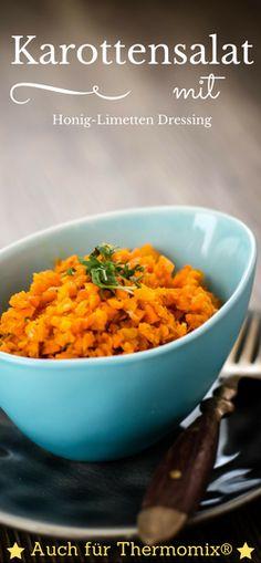 Karottensalat ist ideal als Sattmacher beim Abnehmen auch als Beilage. Das Honig-Limettendressing schenkt ein fruchtig süßes Aroma. Mit Thermomix® Rezept.