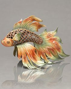 """Namiko"" Japanese Fighting Fish Figurine by Jay Strongwater at Neiman Marcus."