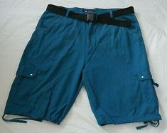 Enyce Sean Combs Mens Size 48 Sea Blue Cotton Cargo Shorts With Black Belt Sean Combs, Black Belt, Online Price, Bermuda Shorts, Best Deals, Cotton, Blue, Ebay, Fashion