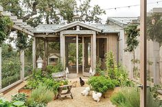 Brooke's office is connected to this vegetable garden where some of her chickens hang out! The Stunning and Classic Home of the Giannetti's at Patina Farm
