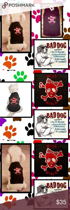 """🦋Bad Dog Tees🐾R💎CH 🐾B💎TCH💎Bling Tee💎🐾🐶 The pampered pooch🐾Shes got het Daddys money,her mommas good looks🐾Let your dog be the envy of the Dog Park🐾rhinestones💎add bling-the mischievous  message of the💎🐾""""Rich Bitch""""💎🐾Cool and comfortable blend sleeveless tee shirt🐾Skull/crossbone image 🐾embroidered lettering🐾65 % polyester and 35 % cotton 🐾Bad Dog Tees🐾Sz Large fits 20"""" length💎14""""-16"""" neck🐾24""""-28"""" chest💎🐾Breeds such as Bulldog💎Brittany Spaniel💎🐾Springer…"""