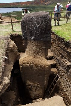 The Easter Island statues have bodies. Back View