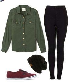 army green button up black leggings maroon vans black beanie Skater Girl Outfits, Skater Girls, Tomboy Fashion, Look Fashion, Tomboy Chic, Tomboy Style, Girl Fashion, Green Long Sleeve Shirt, Long Sleeve Shirts