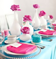 Need to get fresh cut flowers in this color and white vases or clear vases with Tiffany Blue (dyed sugars/sand) or pebbles?