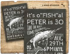 Fishing invitation for fish lovers 30th birthday, 40th 50th 60th- printable invitation for birthday in chalkboard style DIY invite