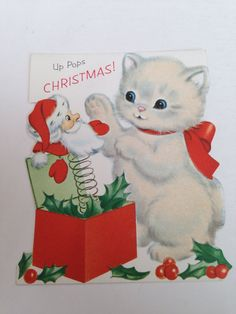Vintage Christmas Greeting Card - Norcross Fuzzy Flocked White Kitty Cat…
