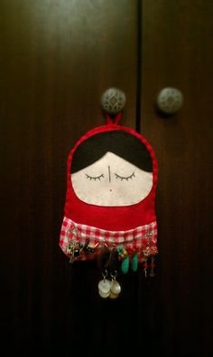 Hanging Russian Babooshka Doll with pocket to hang earrings