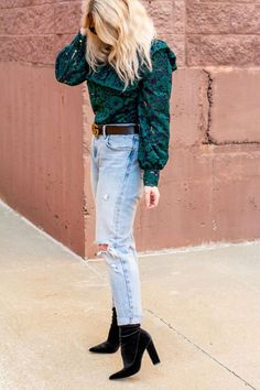 Sock Boots with a Green Lace Blouse + Levi's. | Le Stylo Rouge