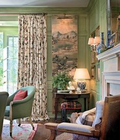 Distressed green wood paneling combines with a subdued floral drape, a wonderful long Chinoiserie panel with its own library light, and a great selections of classic accessories and framed prints to...
