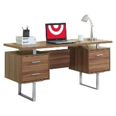 Monarch Specialties Hollow Core Silver Metal Corner Desk Walnut