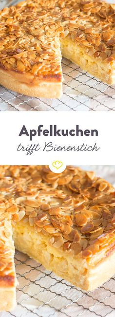 Twice as tasty: apple pie meets bee sting- Doppelt lecker: Apfelkuchen trifft Bienenstich Apple pie or beetroot? Why decide if … - Apple Desserts, Apple Recipes, Sweet Recipes, Baking Recipes, Cake Recipes, Dessert Recipes, Food Cakes, Pumpkin Spice Cupcakes, Cake Cookies