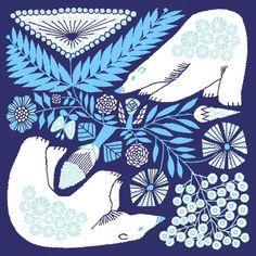 tenp01(正方形のダブルガーゼ) Mサイズ 白熊と植物(紺) - 十布  テンプ