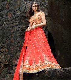 Orange Colour Soft Net Designer Embroidery Work Wedding Lehenga