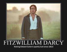 Mr. Darcy vs Edward Cullen. I like Twilight, but its true. Haha.