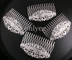 10pcs80mmX54mm Rhodium plated hairpinhair comb With by onlyee, $11.00