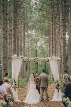 birch arch tree grove outdoor wedding wisconsin romantic venue unique vintage lace mason jars flowers navy farm woods woodsy pines rustic ceremony Burlap and Bells | Gallery  www.burlapandbells.com