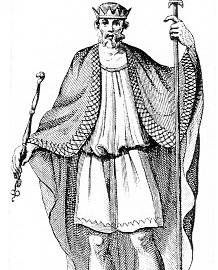 Ethelwulf, King of Wessex, was born in 795 in Aachen, died 13 January 858 at age 63, and was buried in Steyning Church, then The Old Minster and now in Winchester Cathedral.  He married Osburga of Isle of Wight, daughter of Oslac of Isle of Wight, Grand Butler of England.