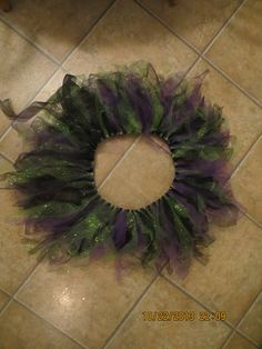 tutu made with elastic, cut strips of tulle, tied around in slip knots. Tutu, Knots, Wreaths, Halloween, Home Decor, Decoration Home, Door Wreaths, Room Decor, Tutus
