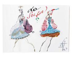 "Christian Lacroix's costume sketches for the Paris Opera Ballet production of ""La Source"" as seen in Elle Decor."