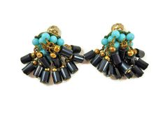 Vintage Retro Earrings Turquoise and Black by SheLeftUsThis, $10.95