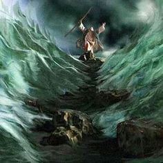 Moses parts the Red Sea.-Genesis 14:21