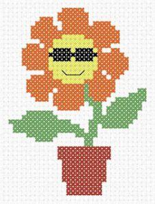 Cool flower from Cross Stitch Addict Cross Stitch Tree, Cross Stitch For Kids, Cross Stitch Cards, Cross Stitching, Free Cross Stitch Charts, Counted Cross Stitch Patterns, Cross Stitch Designs, Embroidery Stitches, Embroidery Patterns