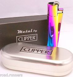 PURPLE OIL RAINBOW METAL CLIPPER LIGHTER & CHROME CASE METALLIC GENUINE NEW