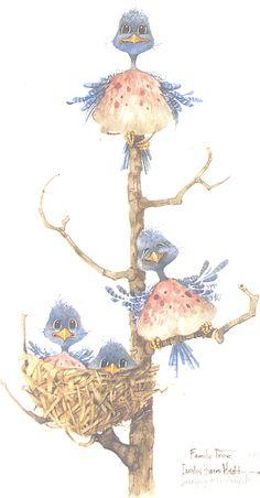 Family Tree by Carolyn Shores Wright Crazy Bird, Funny Birds, Bird Drawings, China Painting, Vintage Birds, Aboriginal Art, Bird Art, Animal Paintings, Illustrations