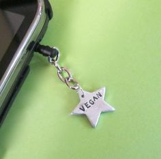 Vegan Star IPhoneIPad Android Dust Plug Charm by crobinsondesign, $8.00