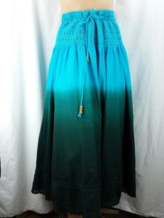 Skirt Turquoise 100% Cotton Fully Lined Drawstring Waist Size L 10 - 12 #Lapis #FullSkirt