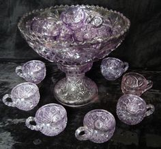 2nd Floor / On The Gold Console Table, In The Cadeau Dining Room / Sun Purple Pedestal Punch Bowl & Cups